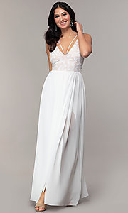 Image of sequin-bodice double-strap long Simply prom dress. Style: MCR-SD-2701 Detail Image 4