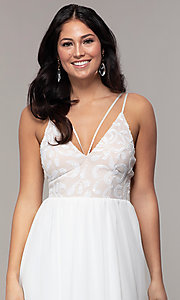 Image of sequin-bodice double-strap long Simply prom dress. Style: MCR-SD-2701 Detail Image 6