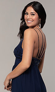 Image of sequin-bodice double-strap long Simply prom dress. Style: MCR-SD-2701 Detail Image 2