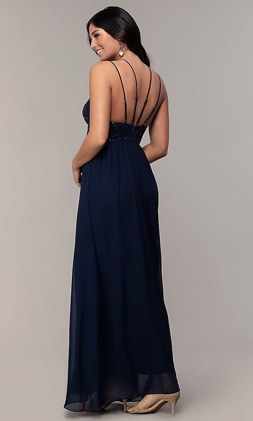 Image of sequin-bodice double-strap long Simply prom dress. Style: MCR-SD-2701 Back Image