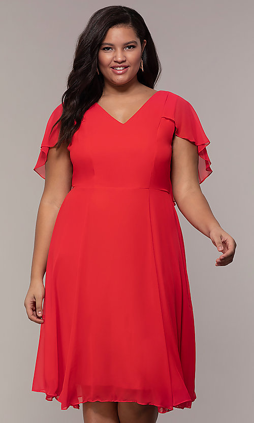 Short Wedding Guest Plus-Size Dress with Capelet