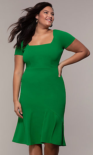 Short Sleeve Knee-Length Wedding Guest Plus-Size Dress
