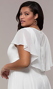 Image of plus-size knee-length v-neck party dress. Style: MCR-3024-I Detail Image 2
