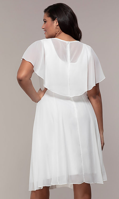 Image of plus-size knee-length v-neck party dress. Style: MCR-3024-I Back Image