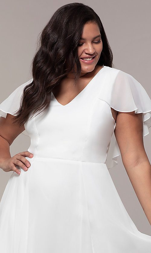 Image of plus-size knee-length v-neck party dress. Style: MCR-3024-I Detail Image 1