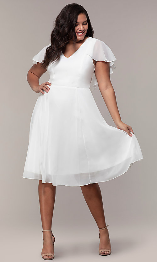 Image of plus-size knee-length v-neck party dress. Style: MCR-3024-I Detail Image 3