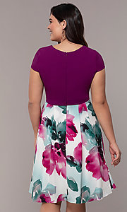 Image of magenta-print knee-length wedding-guest dress. Style: MCR-2531 Back Image