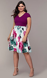 Image of magenta-print knee-length wedding-guest dress. Style: MCR-2531 Detail Image 3