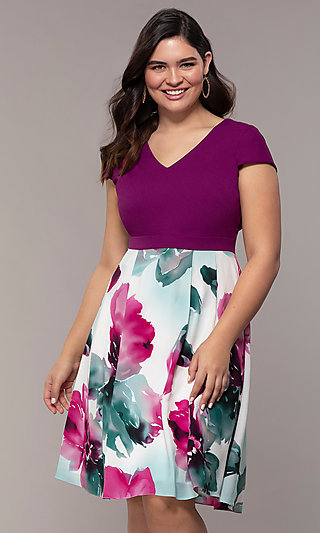 Short Print Skirt Wedding Guest Dress