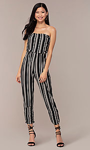 Image of striped strapless party jumpsuit with ruching. Style: IK-RKJ4033 Front Image