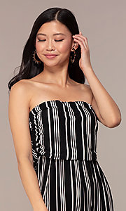 Image of striped strapless party jumpsuit with ruching. Style: IK-RKJ4033 Detail Image 1