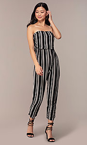 Image of striped strapless party jumpsuit with ruching. Style: IK-RKJ4033 Detail Image 3