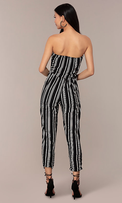 bf1cd89257b8 Striped Strapless Party Jumpsuit