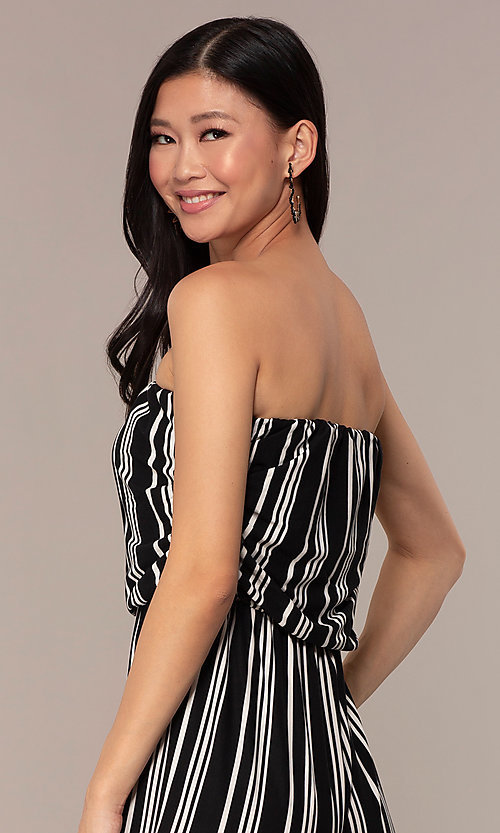 Image of striped strapless party jumpsuit with ruching. Style: IK-RKJ4033 Detail Image 2