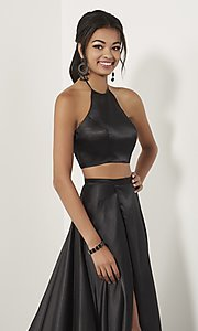 Image of high-neck halter two-piece prom dress with train. Style: ST-12705 Detail Image 4