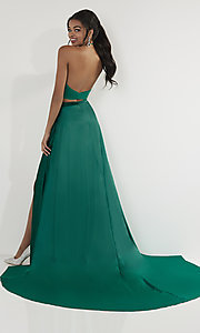 Image of high-neck halter two-piece prom dress with train. Style: ST-12705 Back Image