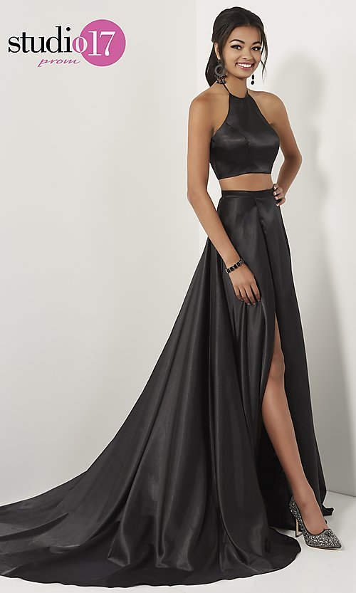 Image of high-neck halter two-piece prom dress with train. Style: ST-12705 Detail Image 3