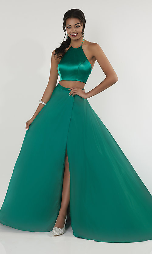 Image of high-neck halter two-piece prom dress with train. Style: ST-12705 Front Image