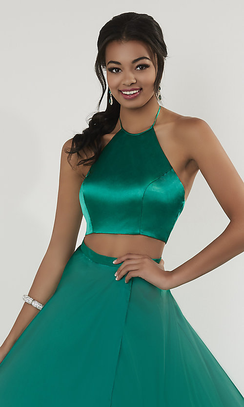 Image of high-neck halter two-piece prom dress with train. Style: ST-12705 Detail Image 1
