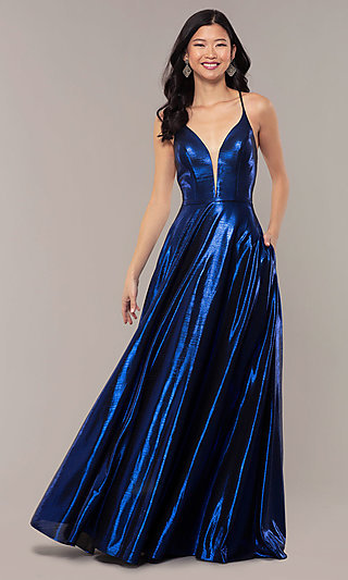Long Metallic A-Line Prom Dress with Pockets