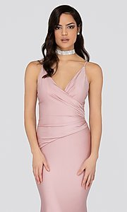 Image of long fitted pink satin prom dress with train. Style: TI-1912P8280 Detail Image 1