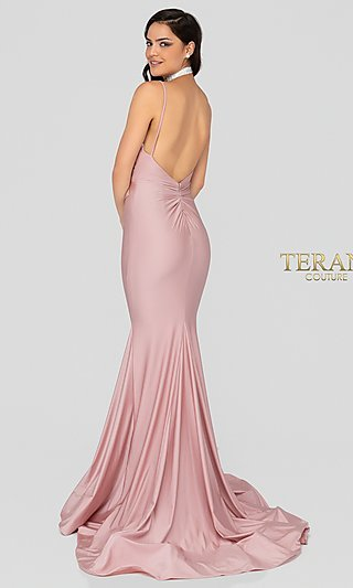 Long Fitted Satin Prom Dress with a Train