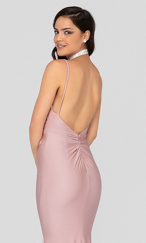 Image of long fitted pink satin prom dress with train. Style: TI-1912P8280 Detail Image 2
