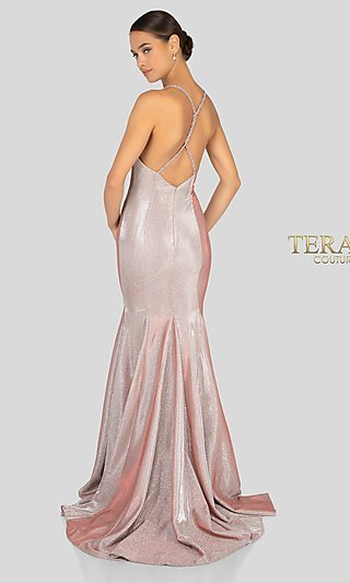 Long Metallic Glitter Prom Dress with a Train