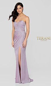 Image of lilac silver glitter formal sweetheart prom dress. Style: TI-1911P8173 Front Image