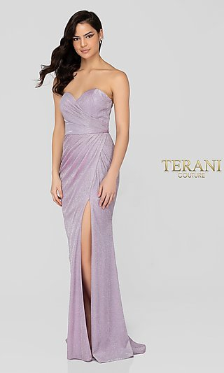Long Lilac Glitter Strapless Designer Formal Gown