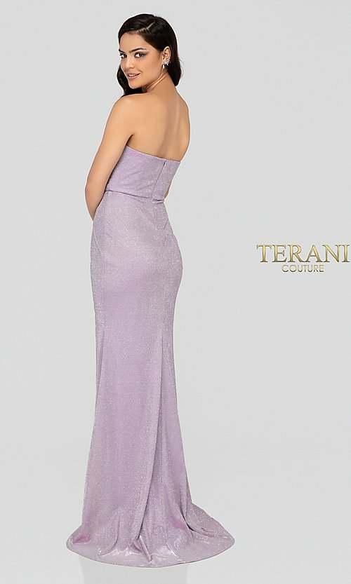 Image of lilac silver glitter formal sweetheart prom dress. Style: TI-1911P8173 Back Image