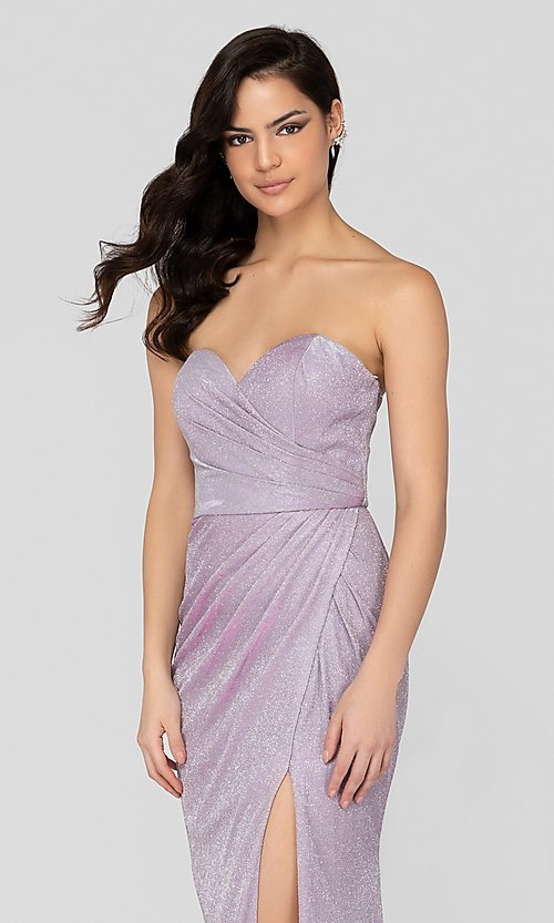 Image of lilac silver glitter formal sweetheart prom dress. Style: TI-1911P8173 Detail Image 1
