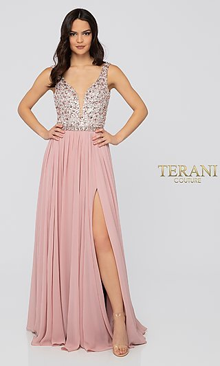 Long Blush V-Neck Formal Gown with Beading