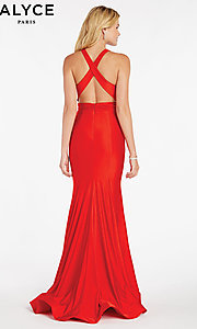 Image of Alyce designer prom dress with criss-cross straps. Style: AL-60285 Back Image