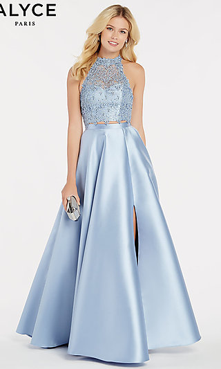 Alyce High-Neck Two-Piece Designer Prom Dress