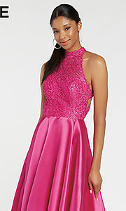 Image of long racerback formal prom dress with cut outs. Style: AL-60331 Detail Image 4