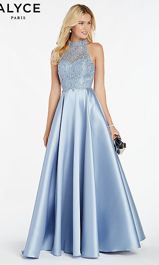Long Racerback A-Line Prom Dress with Cut-Outs