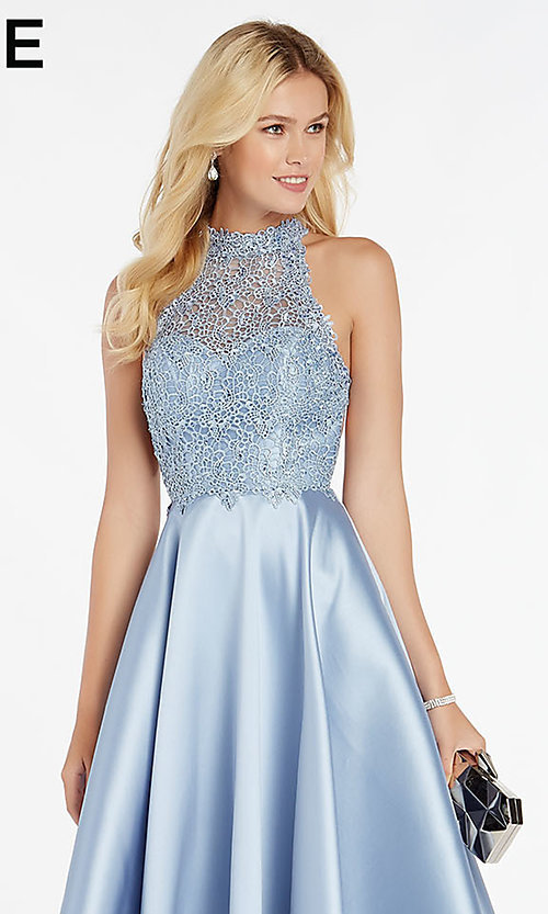 Image of long racerback formal prom dress with cut outs. Style: AL-60331 Detail Image 1