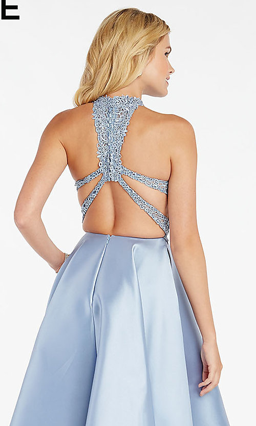 Image of long racerback formal prom dress with cut outs. Style: AL-60331 Detail Image 2