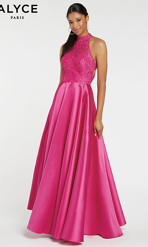 Image of long racerback formal prom dress with cut outs. Style: AL-60331 Detail Image 3