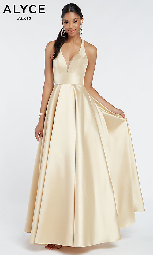 Image of long a-line prom dress with cut-out open back. Style: AL-60393 Detail Image 3