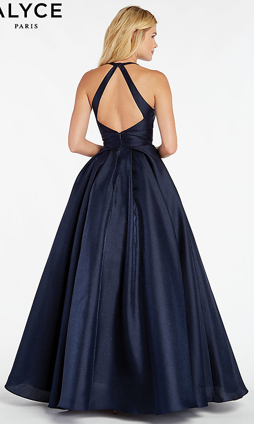 Image of long a-line prom dress with cut-out open back. Style: AL-60393 Back Image
