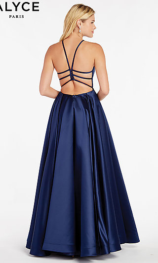 Long A-Line High-Neck Prom Dress with a Caged Back