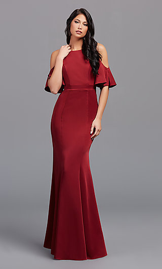 Stretch-Satin Long Bridesmaid Formal Gown