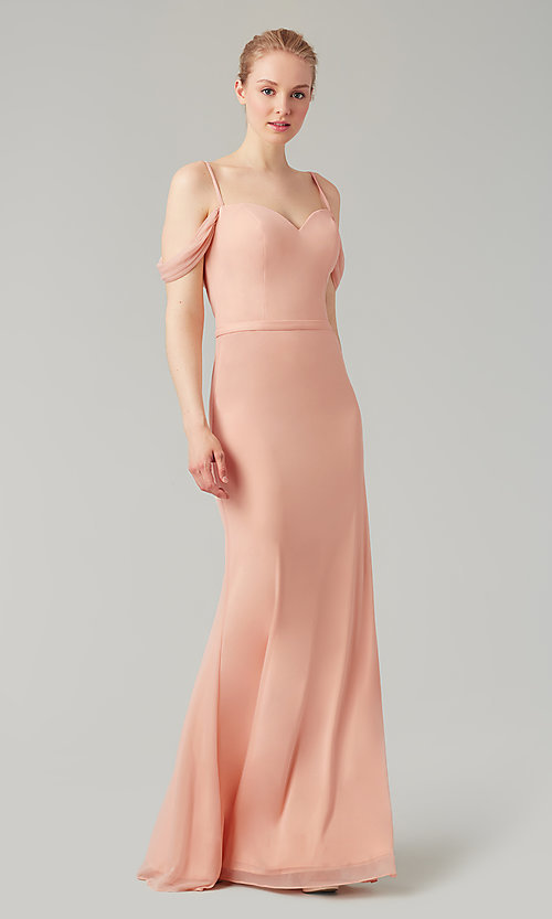 Image of cowl-back long sweetheart bridesmaid dress. Style: KL-200156 Front Image