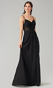 Image of long bridesmaid dress with sheer details. Style: KL-200157 Front Image