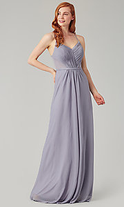 Image of long bridesmaid dress with sheer details. Style: KL-200157 Detail Image 6
