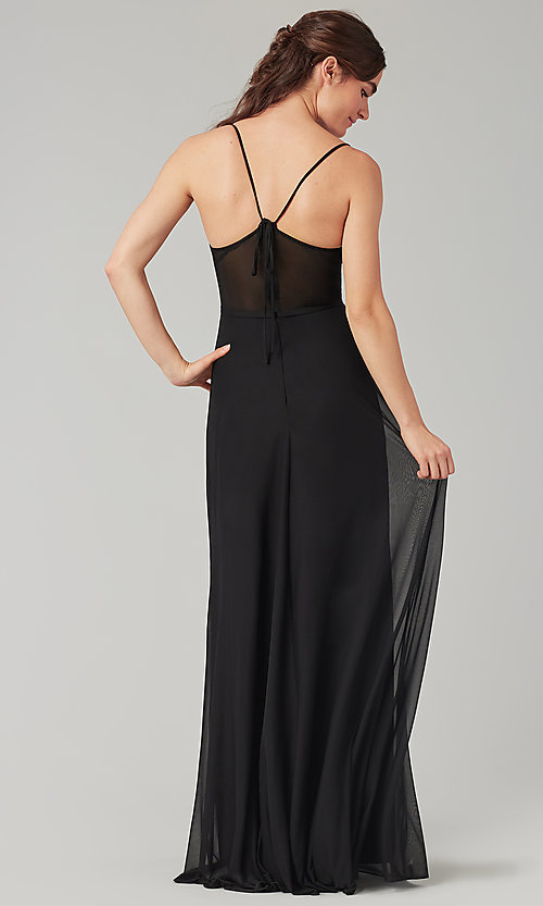 Image of long bridesmaid dress with sheer details. Style: KL-200157 Back Image