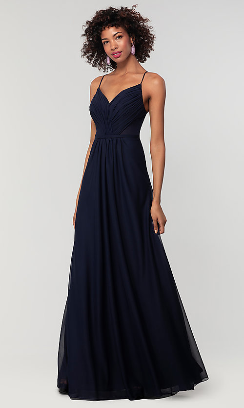 Image of long bridesmaid dress with sheer details. Style: KL-200157 Detail Image 1