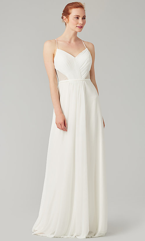 Image of long bridesmaid dress with sheer details. Style: KL-200157 Detail Image 4